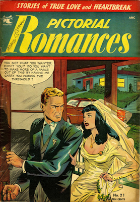 Pictorial Romances #21: classic wedding cover by Matt Baker. Click for values