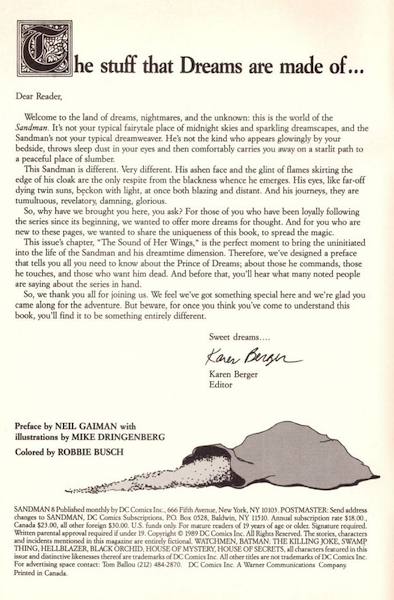 Recalled Editorial Variant of Sandman Comics #8. The editorial inside the front is by Karen Berger in the valuable variant