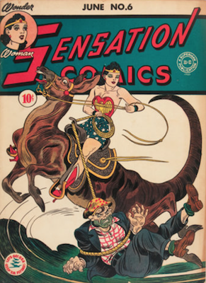 Sensation Comics #6: Origin and First Appearance of Wonder Woman's Magic Lasso of Truth. Click for current values.