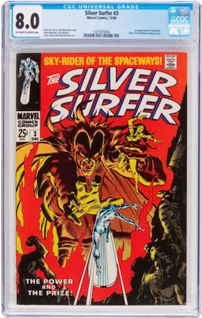 Silver Surfer 3 is scarce in VF or better condition. We recommend a clean CGC 8.0 with OW or better pages. Click to buy a copy