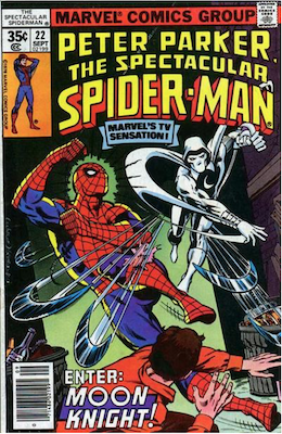 Spectacular Spider-Man #22: Moon Knight appearance. Click for values.