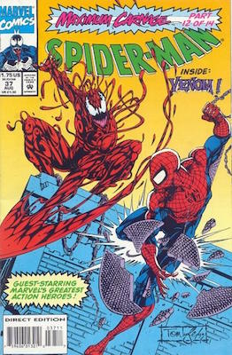 Spider-Man (1990) #37: Maximum Carnage Marvel Crossover Story. Click for values