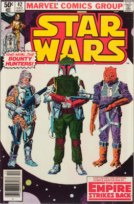 Star Wars #42 newsstand variant, with bar code UPC in bottom left instead of Spider-Man head. Click to buy a copy