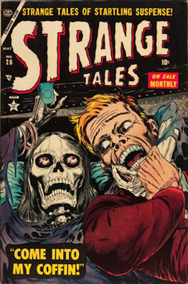 Strange Tales #28: classic skeleton cover. Click for values