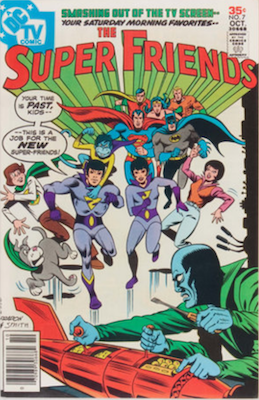 Super Friends #7, 1st Seraph, Godiva, Owl Woman, Impala and Wonder Twins. Click for values