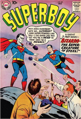 Superboy #68: Origin and First Appearance of Bizarro. Click for current values