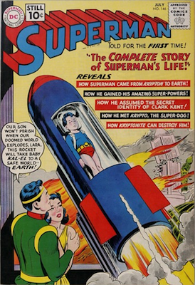 Superman #146: Life story issue. Click for values