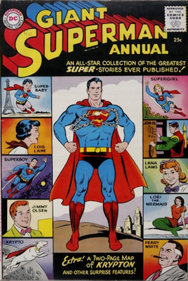 Superman Annual #1: First Silver Age DC Annual. Two page World of Krypton map, DC cover gallery on back cover