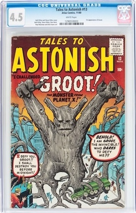 Tales to Astonish #13 is the first appearance of Groot. Not common in any grade, we recommend it as a better investment than a high-grade Marvel Preview #4.