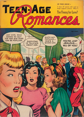 Teen-Age Romances #1: Matt Baker cover art. Click for values