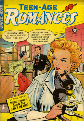 Teen-Age Romances #12: 'hot scientist' cover by Matt Baker. Click for values