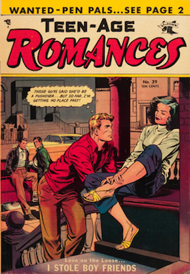 Teen-Age Romances #39, classic Matt Baker cover art. Click for values