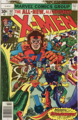Uncanny X-Men #107, 1st Starjammers. Click for values