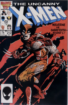 Uncanny X-Men #212: Wolverine vs Sabertooth part one. Click for values