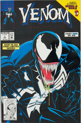 Venom Lethal Protector #1 Error Variant: black background. Click for values