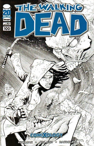 #75: Walking Dead 100 Ottley Sketch (2012). Click for values