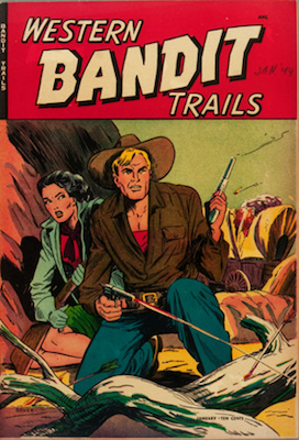Western Bandit Trails #1. Matt Baker comic book cover art. Click for values