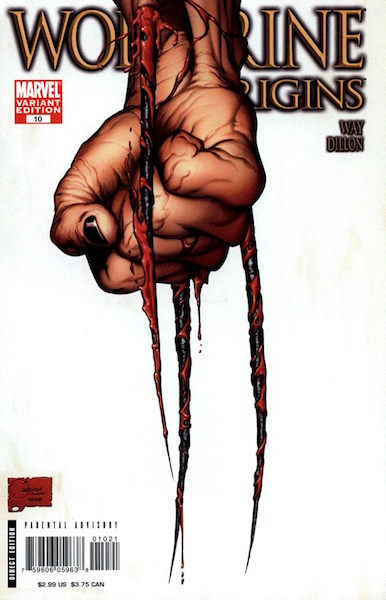 #91: Wolverine Origins 10 Retailer Incentive Edition (Third Claw Variant), Quesada (2007). Click for values