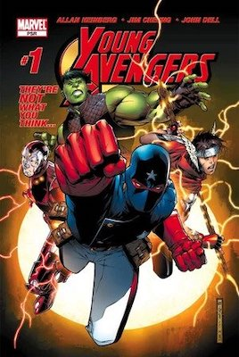 Young Avengers #1, 1st Kate Bishop (Becomes Hawkeye), 1st Iron Lad, Hulkling, Patriot, Wiccan. Click for values
