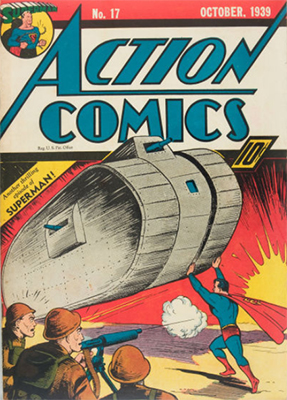 Action #17: 6th Superman cover; classic war image. Click for value
