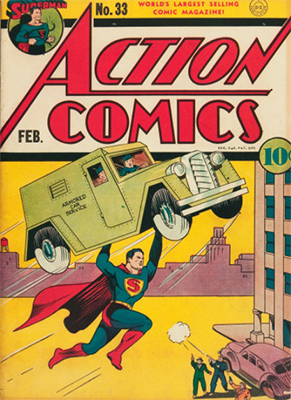 Action Comics #33: Origin and First Appearance, Mr. America (Americommando). Click for values