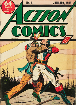 Action Comics #8: no Superman on cover. Click for value