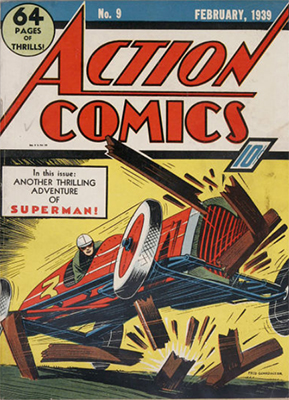Action Comics #9: no Superman on cover. Click for value