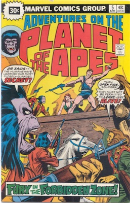 Adventures on the Planet of the Apes #5 30 Cent Price Variant April, 1976. Starburst Blurb