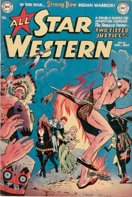 Origin and First Appearance, Trigger Twins, All-Star Western #58, DC Comics, 1951. Click for value