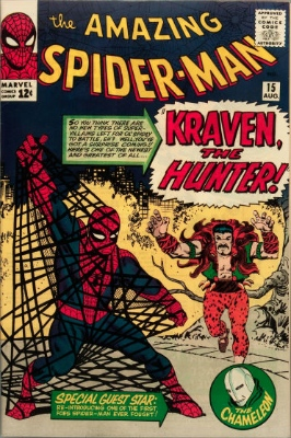 Origin and First Appearance, Kraven the Hunter, Amazing Spider-Man #15, Marvel Comics, 1964. Click to see current value