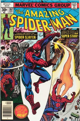 Spiderman Villains List: ASM #167, 1st Will O' the Wisp. Click for values