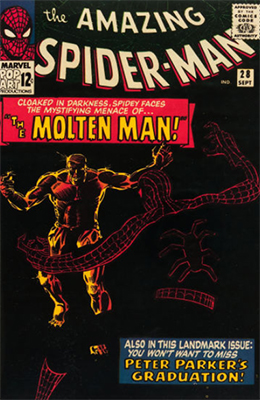 Origin and First Appearance, Molten Man, Amazing Spider-Man #28, Marvel Comics, 1965. Click for value