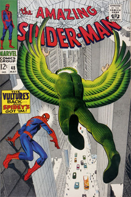 Origin and First Appearance, Vulture (Blackie Dargo), Amazing Spider-Man #48, Marvel Comics, 1967. Click for value