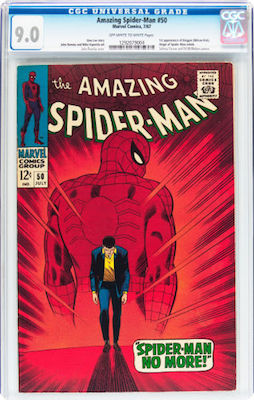 The cherry-red cover of Amazing Spider-Man #50 often presents with wear or creasing. Try to buy a CGC 9.0 copy. Click to buy
