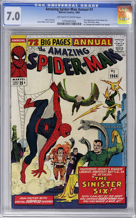 Hot Comics #45: Amazing Spider-Man Annual 1, 1st Sinister Six. We recommend CGC 7.0. Click to buy one