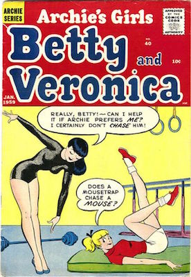 Archie's Girls Betty and Veronica #40: Classic Gymnastics cover; scarce. Click for values