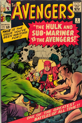 Avengers #3 (Marvel, 1964): First Thor vs Hulk comic; First Hulk and Namor the Sub-Mariner Team Up. Click for values