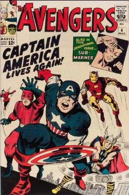 Avengers #4 (March 1964): Captain America revived; first Silver Age appearance. Click for current values