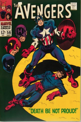 Avengers #56: Story of Captain America frozen into ice retold; Classic Death of Bucky cover. Click for values