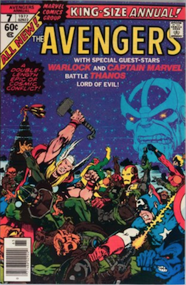 Avengers Annual #7: Thanos Cover and Story. Click for values