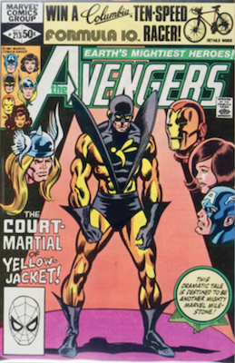 Avengers #213: Controversial scene with Yellowjacket slapping the Wasp. Click for values