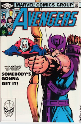 Avengers #223: Classic Hawkeye and Ant-Man Cover. Click for value