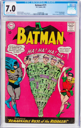 Batman #171 is easy to find in low grade, but we recommend a CGC 7.0 or nicer. Click to buy a copy