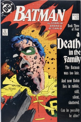 Batman #428 (1989): A Death in the Family Pt. 3, Robin Dies. Click for value