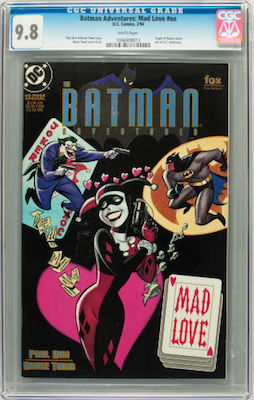 While it's much more affordable, prices for Batman Adventures: Mad Love are softening. Still technically the first appearance of Harley Quinn in continuity. Click to buy a copy