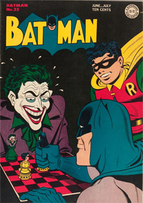Batman #23, classic Joker cover. Click for values