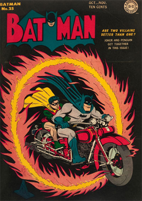 Batman #25, October 1944; Penguin/Joker Team-Up. Bat bike. Click for value