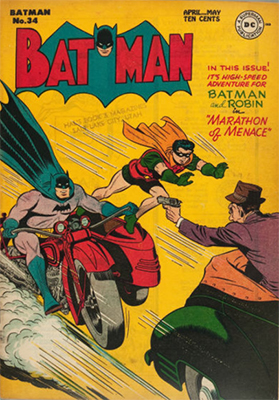 Batman Comic #34, classic action cover. Click for value