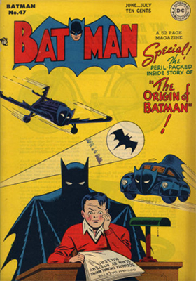 Batman #47, June 1948; Batman's Origin Retold. Click for value