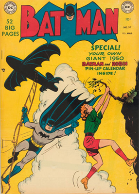 Batman #57, came with pin-up calendar. Click for value